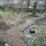 woodchip path in wildlife garden in winter