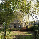 arch and lawn in autumn